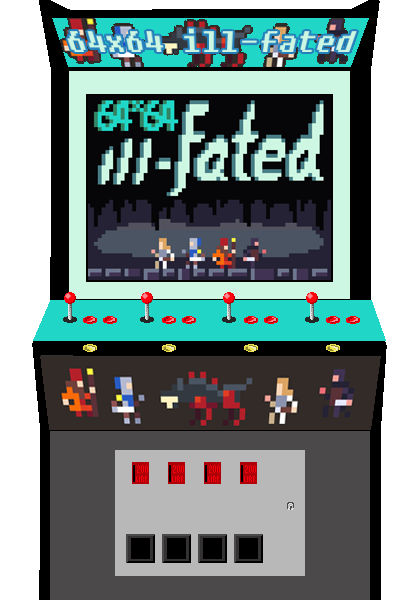 64x64 ill-fated, Pixel Art couch co-op indie video game by Biim Games. Beat 'em up 4 players.