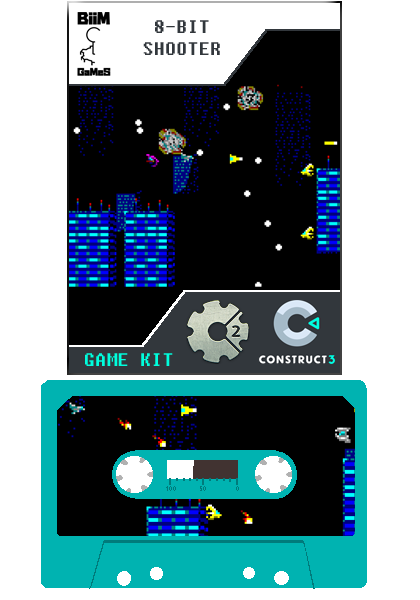 8-bit Shooter. Construct 2 & 3 Video Game Template, Pixel Art & Chiptune Sound Asset by Biim Games.