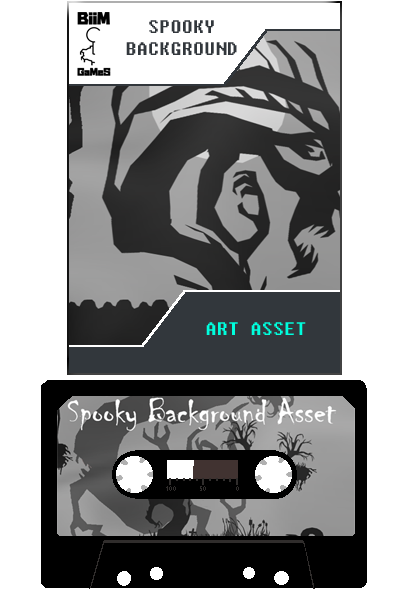 Spooky Background Art Asset. Dark theme trees, grasses, and stones in Black & White by Biim Games.